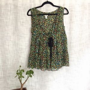 Anthropologie Odille Silk Empire Waist Heart Tank